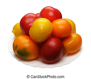 Multicolored tomatoes, isolated