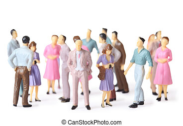 multicolored toy people stand in different poses isolated on...