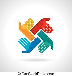 multicolored, trabalho equipe, símbolo., mãos
