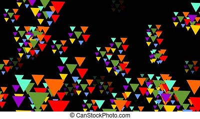 Multicolored triangle groups flying trough space. Triangles...