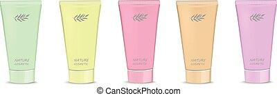 Multicolored tubes of cream natural cosmetics - Vector ...