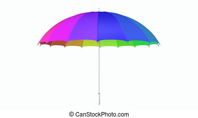 Multicolored umbrella looping 3D animation