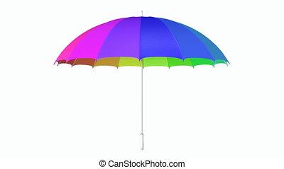 Multicolored umbrella looping 3D animation