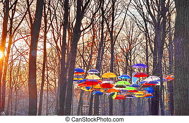multicolored umbrellas over the sky