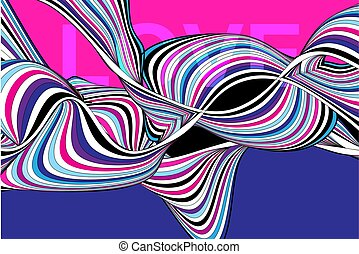 Multicolored vector striped waves