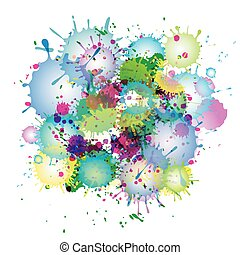 Multicolored watercolor paint splatters vector abstract background