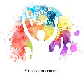 Multicolored watercolor party background
