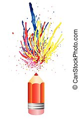 multicolored watercolor splashes from pensil. Vector illustration EPS10
