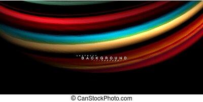 Multicolored wave lines on black background design - ...