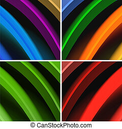 Multicolored 3d render waves abstract background.