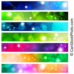 banner set - multicolored web banner set over white