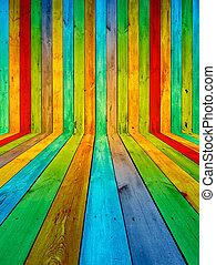 Multicolored Wooden Room - A creative multicolored wooden...