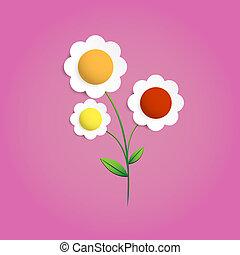 Multicolors flower papercut vector