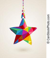 multicolors, pendre, étoile, babiole, noël