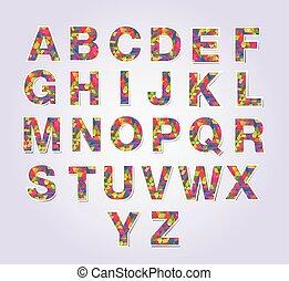 Multicolors polygon font set for your design