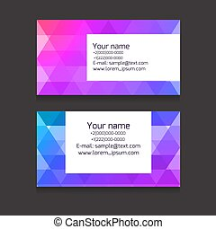 Multicolour business card template from polygonal elements....