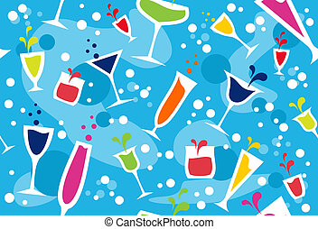 Multicolour cocktail pattern - Colourful cups wallpaper on...