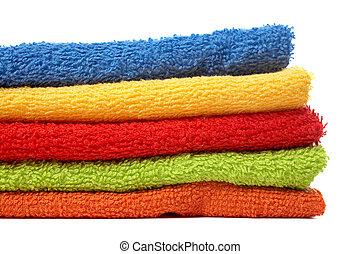 multicolour, empilhado, toalhas