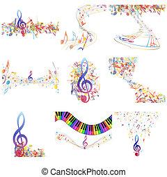 Multicolour musical notes staff set. Vector illustration...
