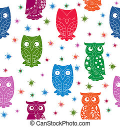 Multicolour owl and stars seamless pattern with lace...