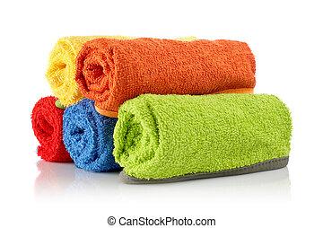 multicolour, rolos, toalhas