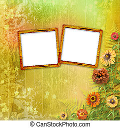 multicoloured card for greetings or invitations with bunch...