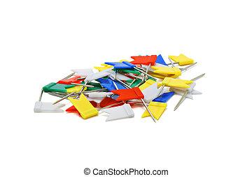 Multicoloured flag shape push pins