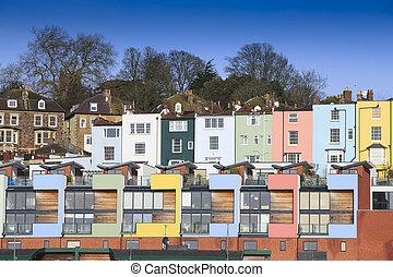 Multicoloured houses in Bristol