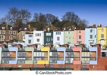 Multicoloured houses in Bristol