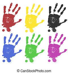 multicoloured, impresiones, mano