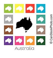 Multicoloured Map of the country of Australia