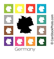 Multicoloured Map of the country of Germany