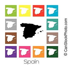 Multicoloured Map of the country of Spain