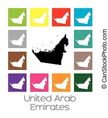 Multicoloured Map of the country of United Arab Emirates