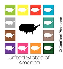 Multicoloured Map of the country of United States of America