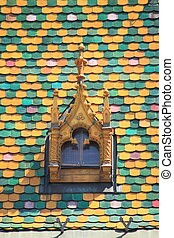 Multicoloured roof in Budapest