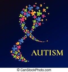 multicoloured, ruban, conscience, autism, confondu, affiche