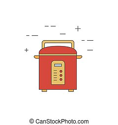 Multicooker isolated line icon.