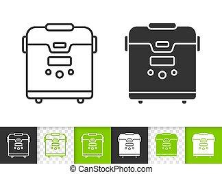 Multicooker simple black line vector icon
