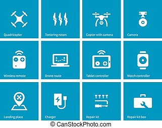 Multicopter drone icons on blue background. Vector...