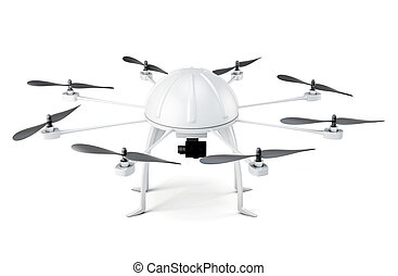 Multicopter isolated on white background. 3d rendering