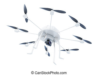 Multicopter with camera isolated on white background. 3d rendering