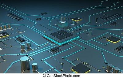 multicore, プロセッサ, 上に, ∥, インテグレイテド, circuit., データ, streams., ネオン, lines., インテグレイテド, circuits., チップ, ram