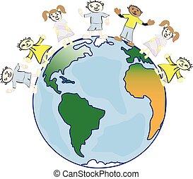 multicultural, 孩子, 在上, 行星地球, 文化, 差异, 传统, 人们, costumes., 地球, 是, 我, friend.