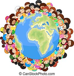 Multicultural children cartoon on p - Vector illustration of...