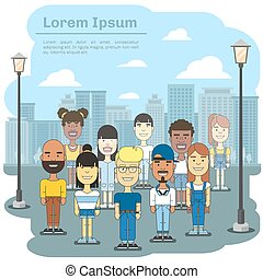 Multicultural city team. Business international people community in town vector illustration
