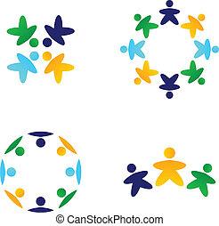 multicultural, coloridos, equipes, conectando, junto, ícones