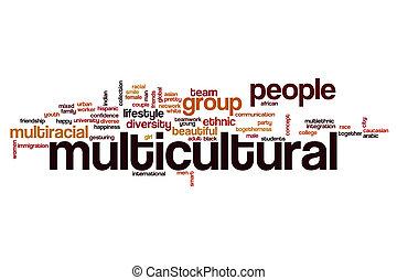 multicultural, conceito, palavra, nuvem