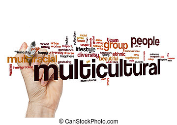 multicultural, concepto, palabra, nube