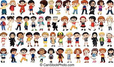 multicultural, conjunto, carácter